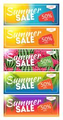 Summer Sale end of Season Banner. Business Discount Card Templat