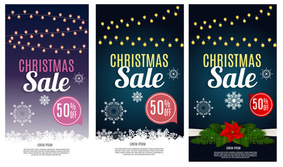 Christmas Sale, Discount Voucher Banner Background. Business Discount Card.