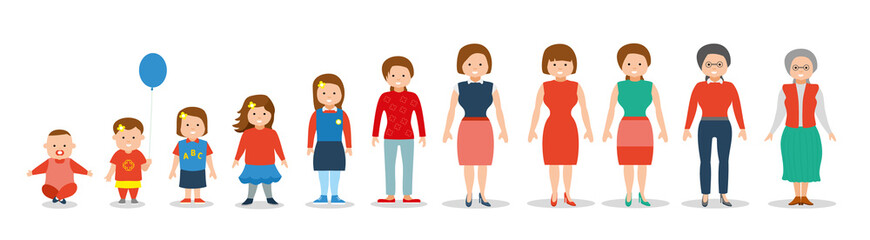 Generation of woman from infants to juniors. Flat