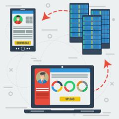 Online server data storage