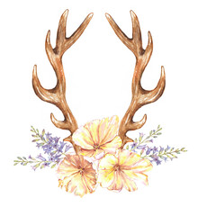Beautiful illustration with the watercolor tulip flowers, hyacinth and antlers. Floral composition in boho style with stylized antlers drawing and yellow tulips bouquet