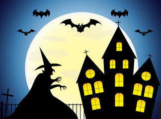 Happy Halloween house scary on dark  blue background, Halloween party.