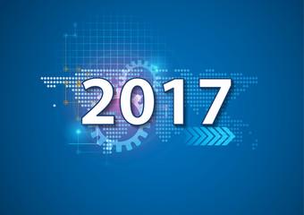 2017 happy new year Celebration background in hi technology styl