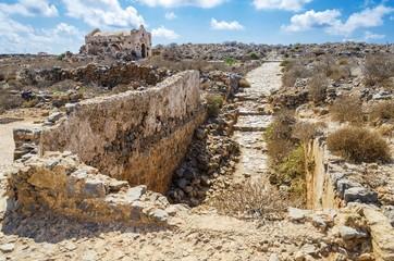 Gramvousa venetian castle ruins, near balos beach, Crete Island, Greece