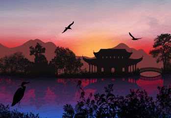 Keuken foto achterwand Aubergine Beautiful asian landscape