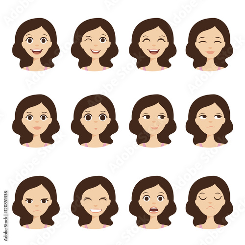 """Girl emotion faces cartoon vector illustration. Woman ..."