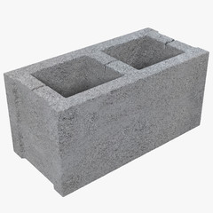 Single Gray Concrete Cinder Block Isolated on White 3D Illustration