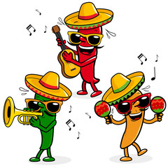 Cartoon fresh hot mariachi peppers wearing sombreros and playing music.