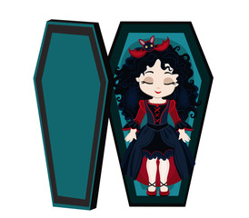 Funny cartoon cute vampire girl sleeping in her coffin.