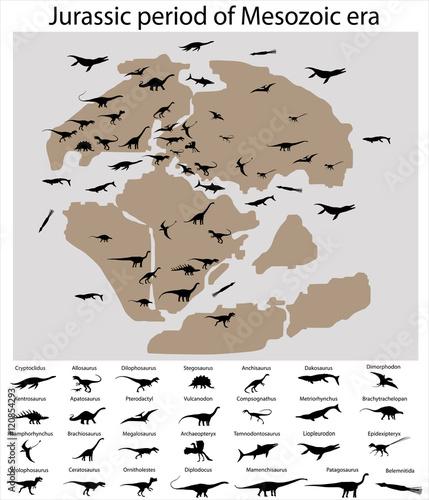 Dinosaurs of jurassic period of mesozoic era on the map