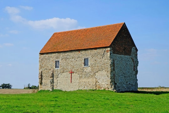 The Saxon Chapel of St Peters-on- the- Wall at Bradwell on Sea Essex was built by St Cedd in 654 AD.