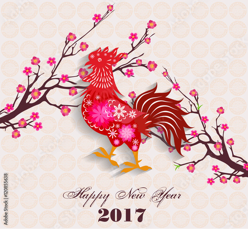 Happy Chinese New Year 2017 Of The Rooster Lunar With Firecock