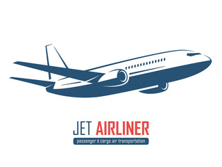 Jet airliner, airplane emblem, label, icon, badge, silhouette on white background. Vector illustration.