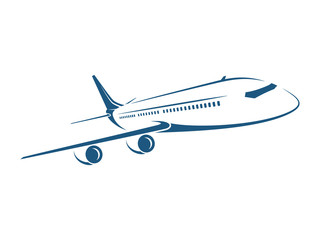 Airplane emblem, label, icon, silhouette on white background. Vector illustration.