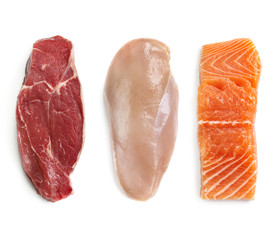 Door stickers Meat Raw Beef Chicken and Fish Isolated Top View