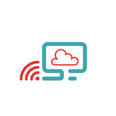 Vector illustration of PC , wlan icon and cloud computing.