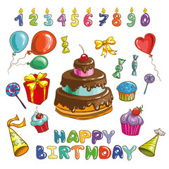 Colorful Happy Birthday vector set.