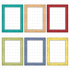 Set of colorful wooden frames. Wooden square picture frames of colorful set for your web design. Abstract colorful picture frames on vintage background. Vector set of color photo frames on the wall