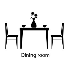 Home and hotel dining room interior with furniture.