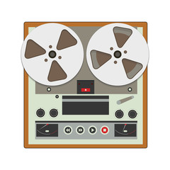 Reel-to-reel recorder with cassete tape cartridges. Retro music