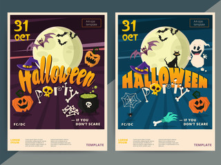 Happy Halloween party poster template design. All hallow eve fly