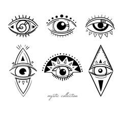 decorative mystic symbols with eyes