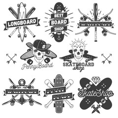 Vector set of monochrome skateboard, longboard, pennyboard labels. Isolated badges, emblems, logos in vintage style