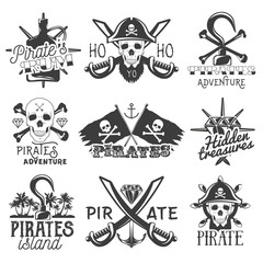 Vector set of pirates logos, emblems, badges, labels or banners. Isolated vintage style illustrations. Monochrome flags with skulls, swords, rum, hook and treasure