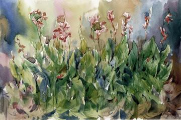 Akwarela malarstwo abstrakcyjne kwiaty