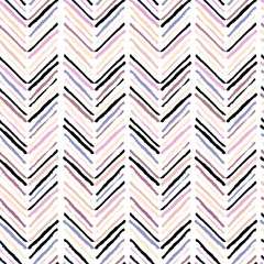 Vector seamless pattern of modern brush spots making geometric chevron. Trendy pastel rose, beige and purple colors.