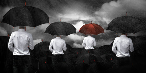 Man in white standing umbrella business concept.