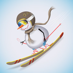 Snowman on skis racing down the hill. Winter fun. Vector illustration.