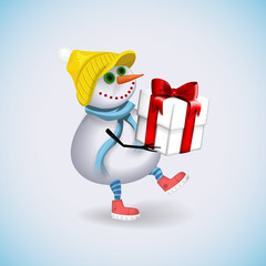 Snowman carries a gift for Christmas. Winter fun. Vector illustration.