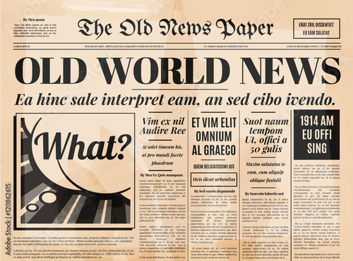 Old Newspaper Design Vector Template Stock Image And Royalty Free