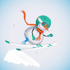 Snowman in a jump on a slope on skis. Winter fun. Vector illustration.
