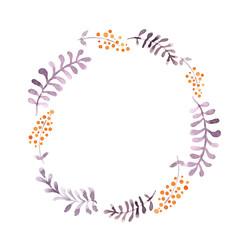 Cute wreath - leaves and berries. Watercolor
