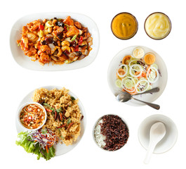 Top view: set of thai food, salad, mayonnaise, Fried chicken wit