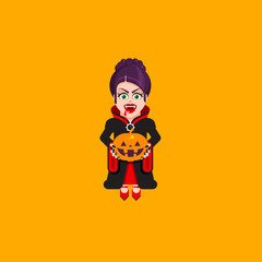 Vampire woman character for halloween in a flat style