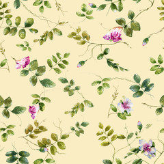 Watercolor illustration painting of leaf and flowers, seamless pattern on cream background