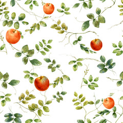 Watercolor illustration of leaf and apple, seamless pattern on white background
