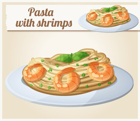 Pasta with shrimps. Cartoon vector icon
