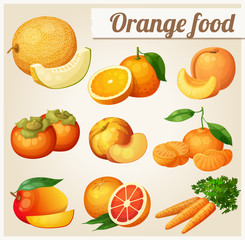 Set of cartoon food icons. Orange food. Melon, orange, peach, apricot, persimmon, mandarine, mango,grapefruit, carrot