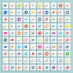 Flat arrow icon square web button