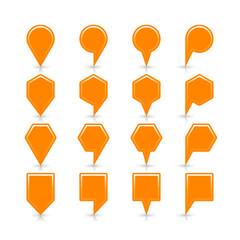 Flat orange color map pin sign location icon