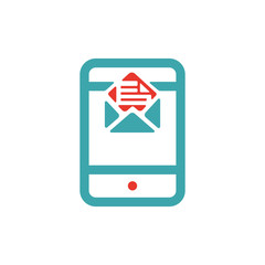 Vector illustration of mail icon on tablet.
