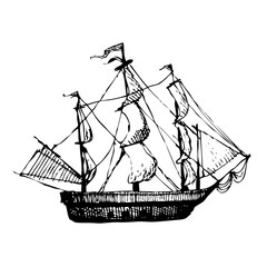 Hand drawn doodle ship. Travel, sea, pirate. Black illustration, white background.