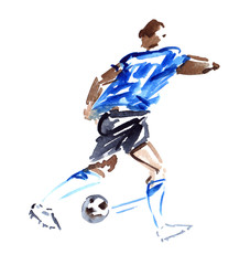 Moving soccer player in blue shirt chasing the ball painted in watercolor on clean white background