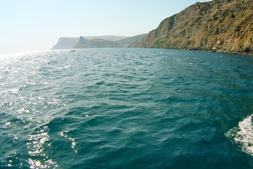 Waves on seascape in sun light