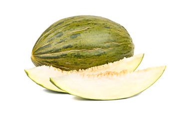 Green melon with slice