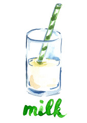 "Half full glass of milk with green and white drinking straw and hand written word ""milk"" painted in watercolor on clean white background"